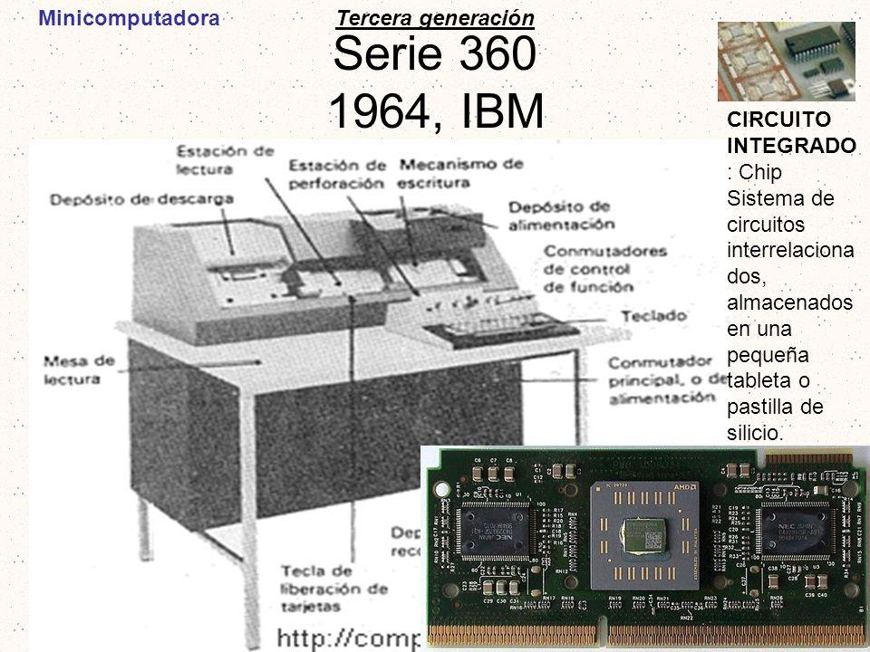 Serie 360 1964, IBM Tercera generación CIRCUITO INTEGRADO : Chip Sistema de circuitos interrelaciona dos, almacenados en una pequeña tableta o pastill
