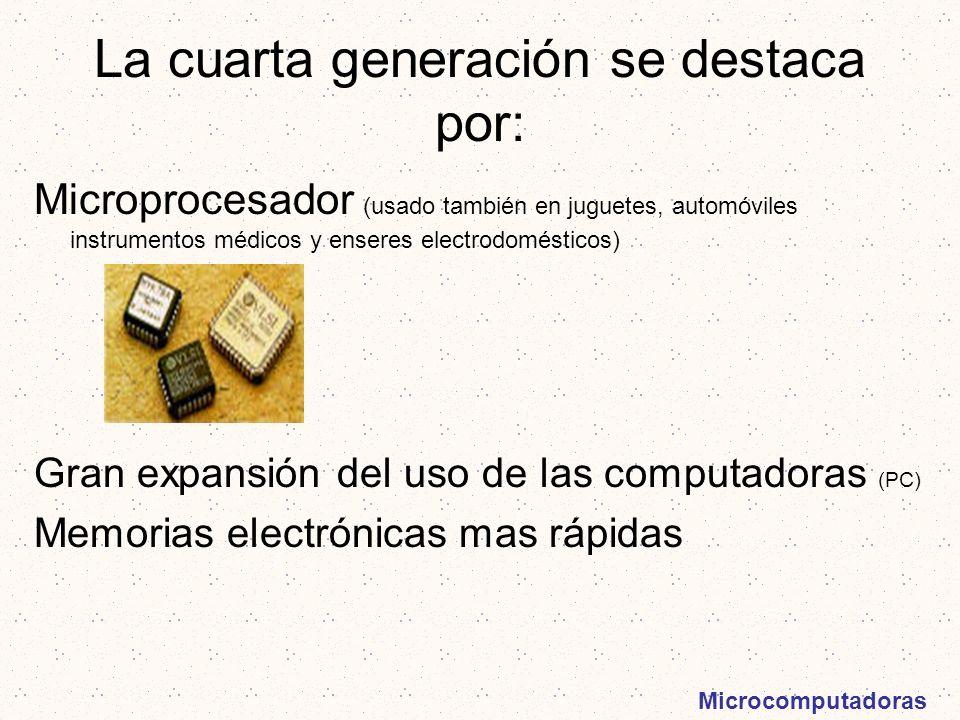 La cuarta generación se destaca por: Microprocesador (usado también en juguetes, automóviles instrumentos médicos y enseres electrodomésticos) Gran ex