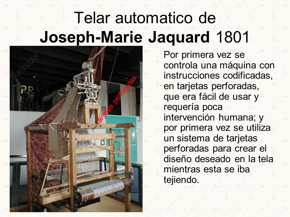 Telar automatico de Joseph-Marie Jaquard 1801 Por primera vez se controla una máquina con instrucciones codificadas, en tarjetas perforadas, que era f