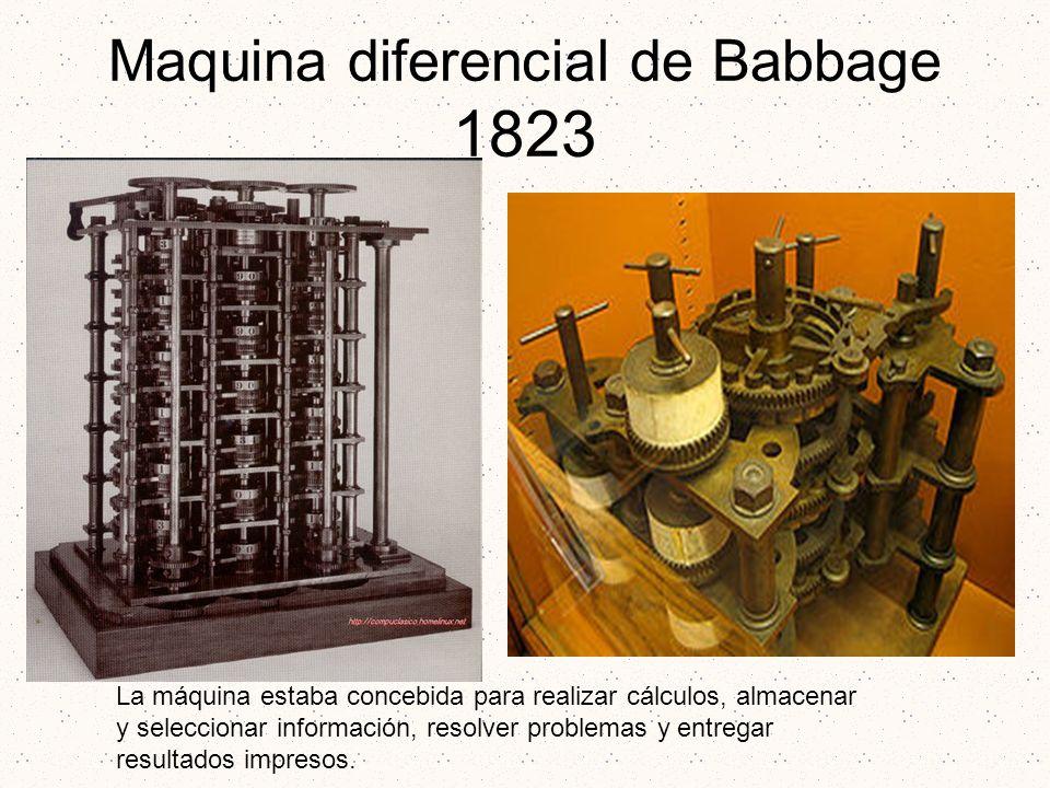 Maquina diferencial de Babbage 1823 La máquina estaba concebida para realizar cálculos, almacenar y seleccionar información, resolver problemas y entr