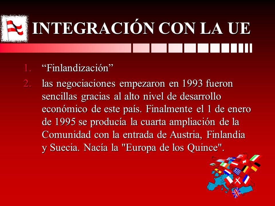 INTEGRACIÓN CON LA UE INTEGRACIÓN CON LA UE 1.Finlandización 2.las negociaciones empezaron en 1993 fueron sencillas gracias al alto nivel de desarroll