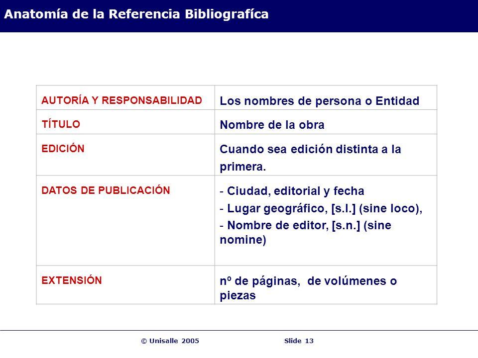 © Unisalle 2005Slide 13 Anatomía de la Referencia Bibliografíca AUTORÍA Y RESPONSABILIDAD Los nombres de persona o Entidad TÍTULO Nombre de la obra EDICIÓN Cuando sea edición distinta a la primera.