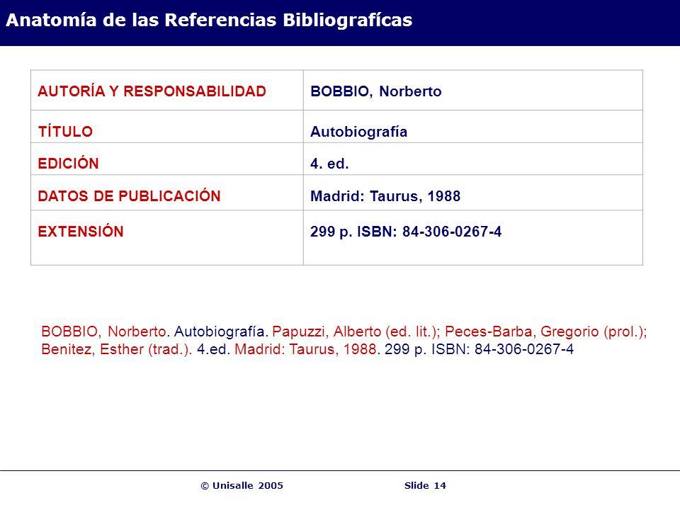 © Unisalle 2005Slide 14 Anatomía de las Referencias Bibliografícas AUTORÍA Y RESPONSABILIDADBOBBIO, Norberto TÍTULOAutobiografía EDICIÓN4. ed. DATOS D