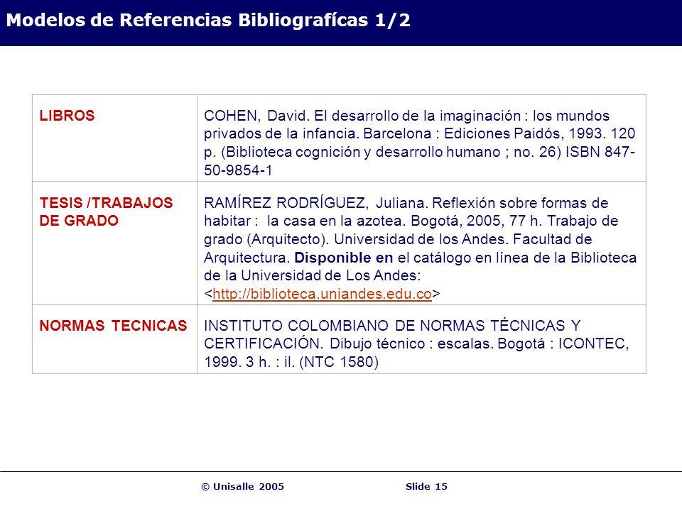 © Unisalle 2005Slide 15 Modelos de Referencias Bibliografícas 1/2 LIBROSCOHEN, David. El desarrollo de la imaginación : los mundos privados de la infa