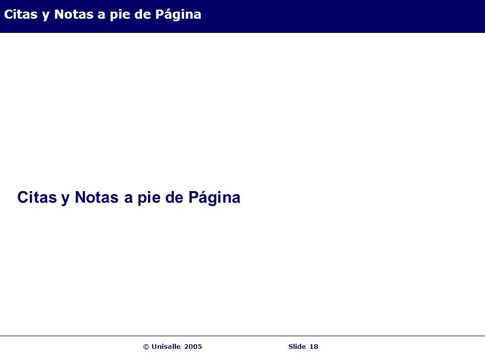 © Unisalle 2005Slide 18 Citas y Notas a pie de Página