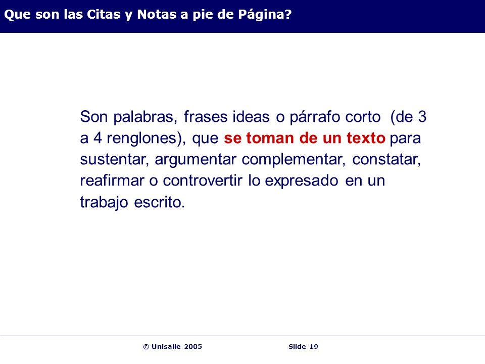 © Unisalle 2005Slide 19 Que son las Citas y Notas a pie de Página? Son palabras, frases ideas o párrafo corto (de 3 a 4 renglones), que se toman de un