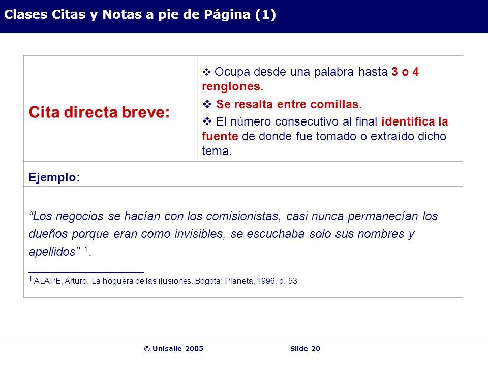 © Unisalle 2005Slide 20 Clases Citas y Notas a pie de Página (1) Cita directa breve: Ocupa desde una palabra hasta 3 o 4 renglones. Se resalta entre c
