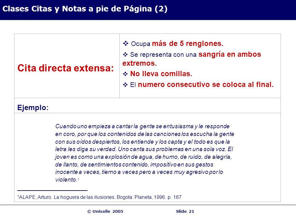 © Unisalle 2005Slide 21 Clases Citas y Notas a pie de Página (2) Cita directa extensa: Ocupa más de 5 renglones. Se representa con una sangría en ambo