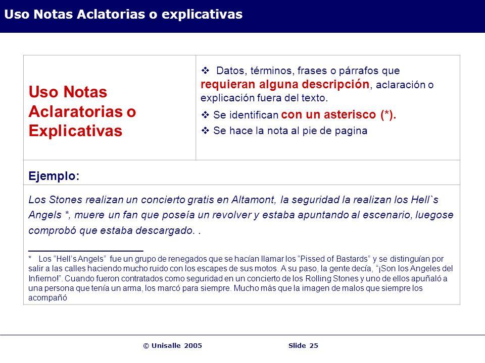 © Unisalle 2005Slide 25 Uso Notas Aclatorias o explicativas Uso Notas Aclaratorias o Explicativas Datos, términos, frases o párrafos que requieran alg
