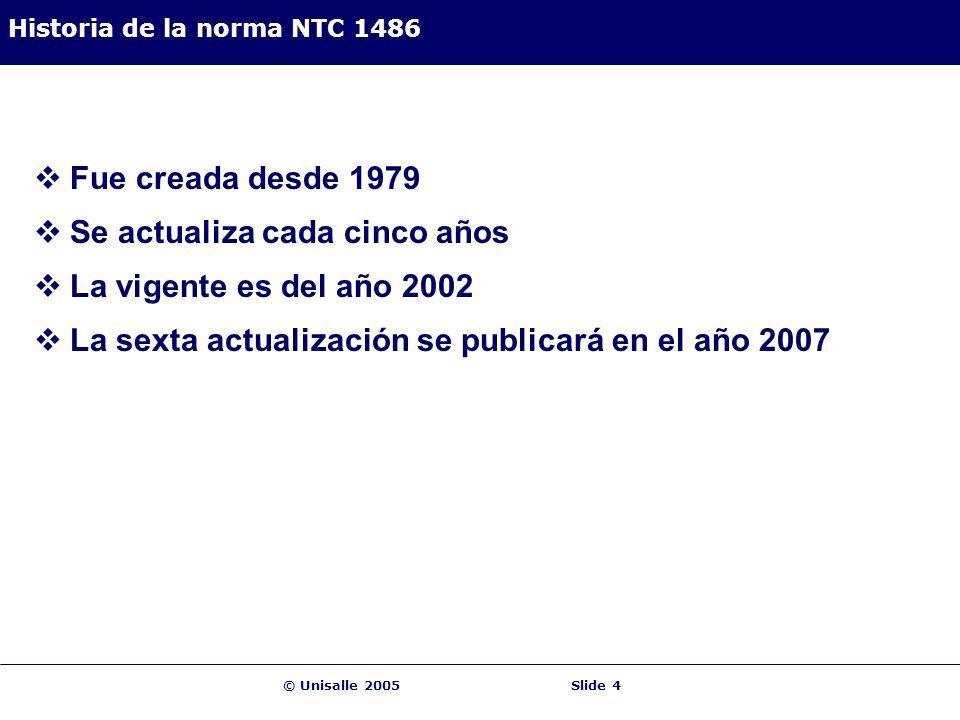 © Unisalle 2005Slide 4 Historia de la norma NTC 1486 Fue creada desde 1979 Se actualiza cada cinco años La vigente es del año 2002 La sexta actualizac