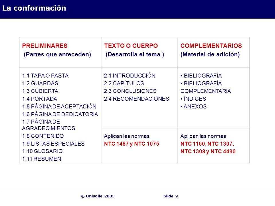 © Unisalle 2005Slide 9 La conformación PRELIMINARES (Partes que anteceden) TEXTO O CUERPO (Desarrolla el tema ) COMPLEMENTARIOS (Material de adición) 1.1 TAPA O PASTA 1.2 GUARDAS 1.3 CUBIERTA 1.4 PORTADA 1.5 PÁGINA DE ACEPTACIÓN 1.6 PÁGINA DE DEDICATORIA 1.7 PÁGINA DE AGRADECIMIENTOS 1.8 CONTENIDO 1.9 LISTAS ESPECIALES 1.10 GLOSARIO 1.11 RESUMEN 2.1 INTRODUCCIÓN 2.2 CAPÍTULOS 2.3 CONCLUSIONES 2.4 RECOMENDACIONES BIBLIOGRAFÍA COMPLEMENTARIA ÍNDICES ANEXOS Aplican las normas NTC 1487 y NTC 1075 Aplican las normas NTC 1160, NTC 1307, NTC 1308 y NTC 4490