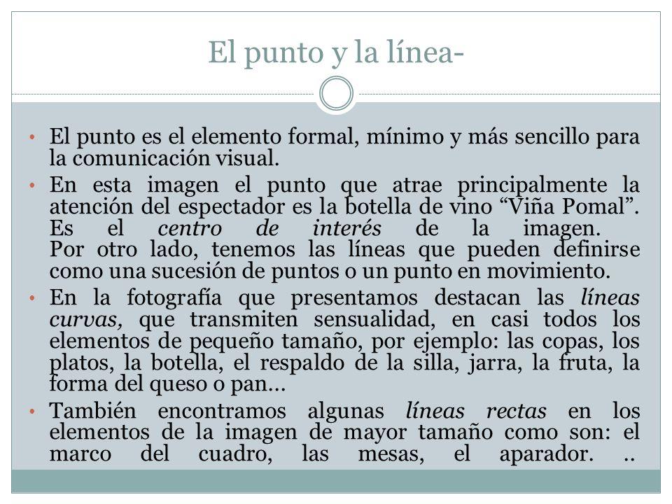 El punto y la línea- El punto es el elemento formal, mínimo y más sencillo para la comunicación visual. En esta imagen el punto que atrae principalmen