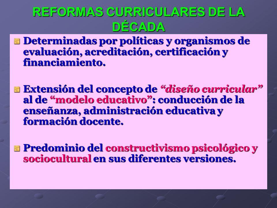 REFORMAS CURRICULARES DE LA DÉCADA Determinadas por políticas y organismos de evaluación, acreditación, certificación y financiamiento. Extensión del