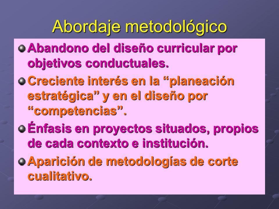 Abordaje metodológico Abandono del diseño curricular por objetivos conductuales. Creciente interés en la planeación estratégica y en el diseño por com