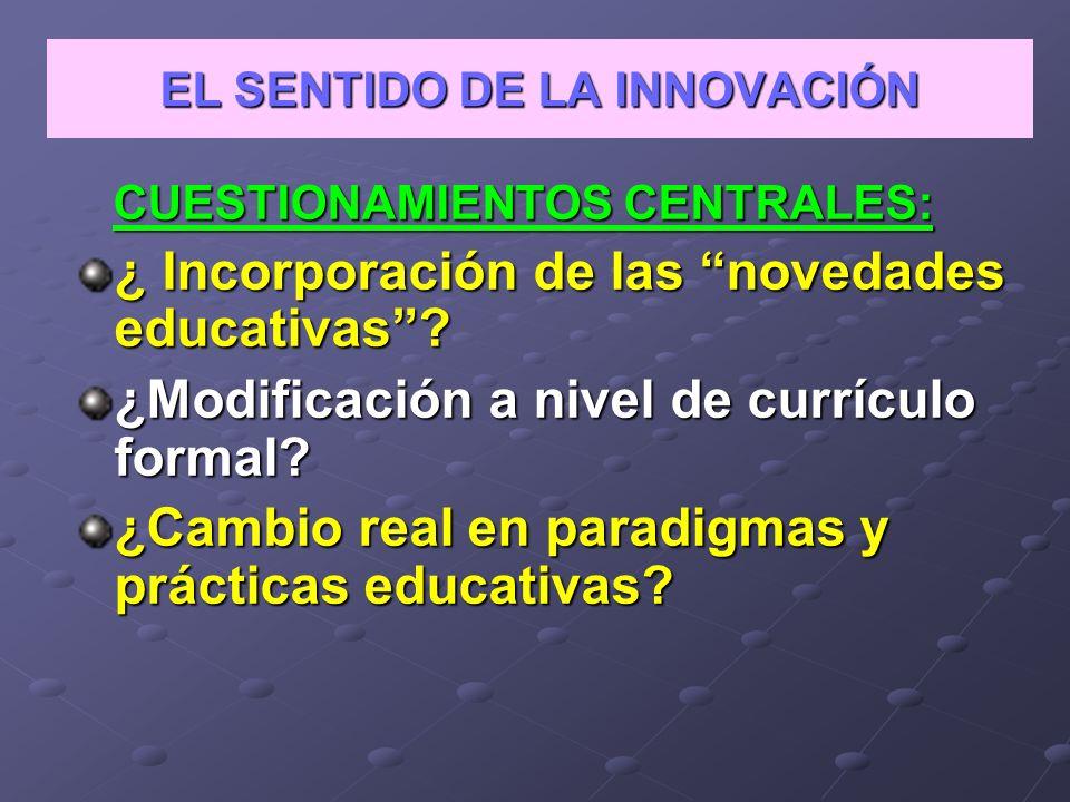 Problemática Diversas concepciones y sentidos de los modelos innovadores.