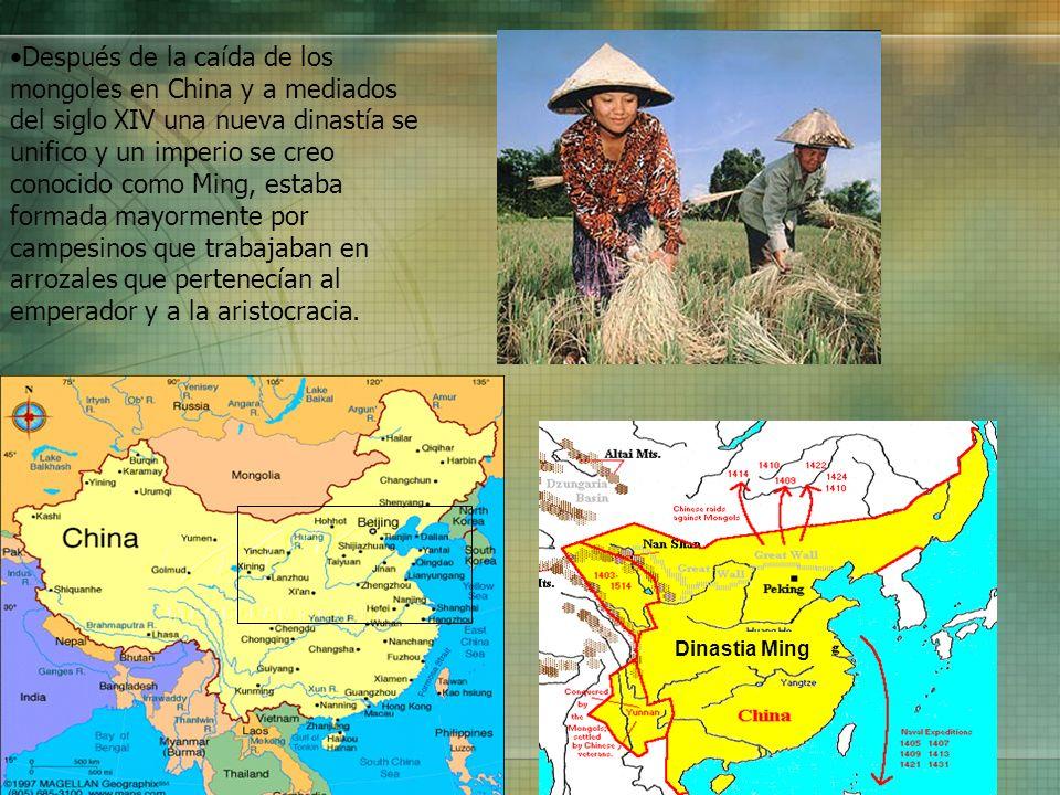 Después de la caída de los mongoles en China y a mediados del siglo XIV una nueva dinastía se unifico y un imperio se creo conocido como Ming, estaba