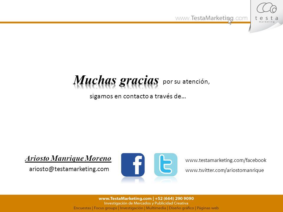 sigamos en contacto a través de… por su atención, www.testamarketing.com/facebook www.twitter.com/ariostomanrique ariosto@testamarketing.com Ariosto M