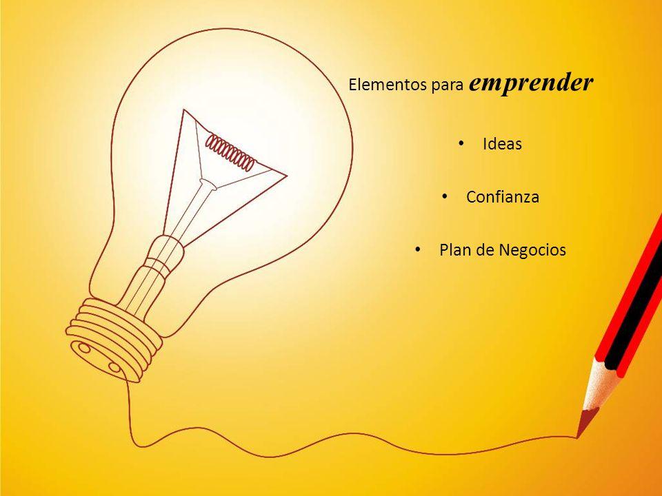 Elementos para emprender Ideas Confianza Plan de Negocios
