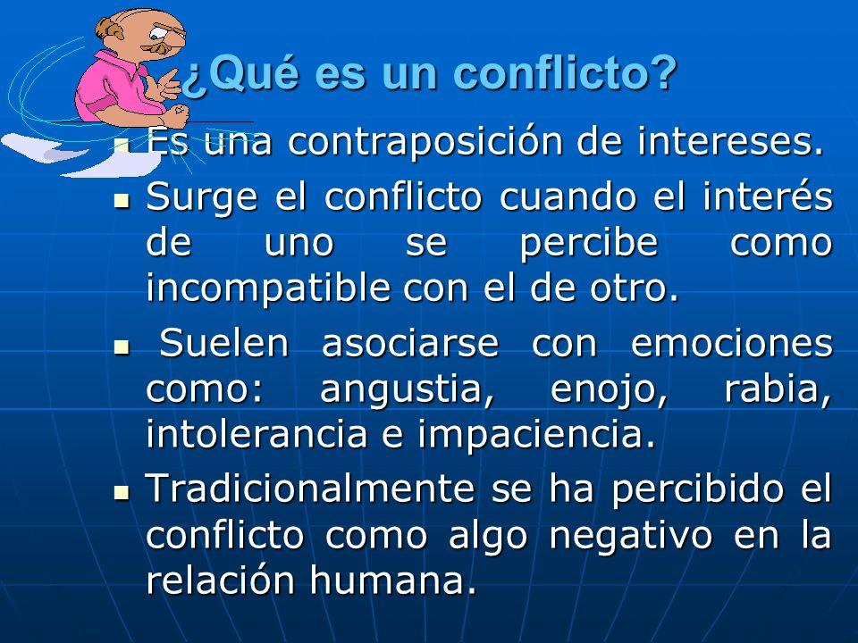 ¿Qué es un conflicto? Es una contraposición de intereses. Es una contraposición de intereses. Surge el conflicto cuando el interés de uno se percibe c