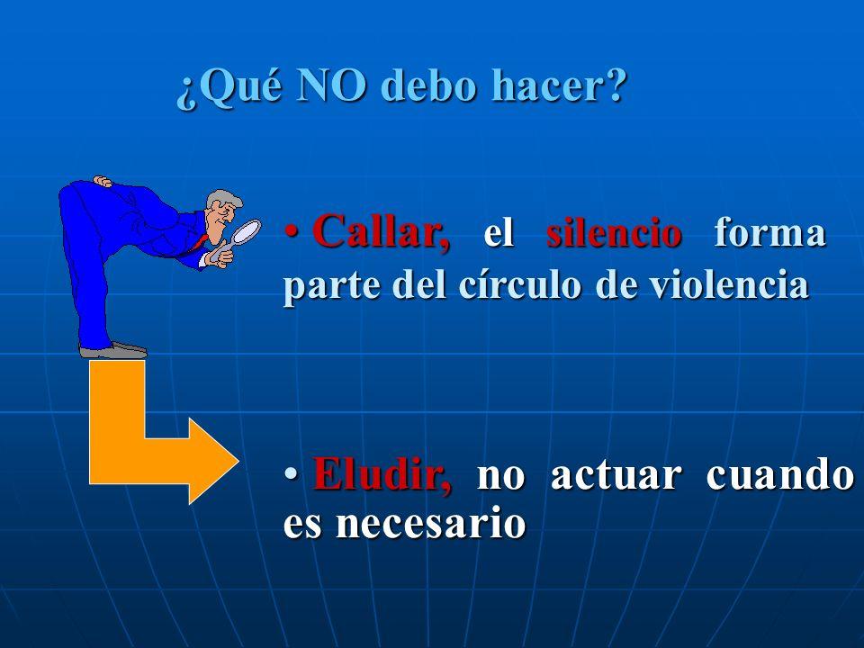 Callar, el silencio forma parte del círculo de violencia Callar, el silencio forma parte del círculo de violencia Eludir, no actuar cuando es necesari