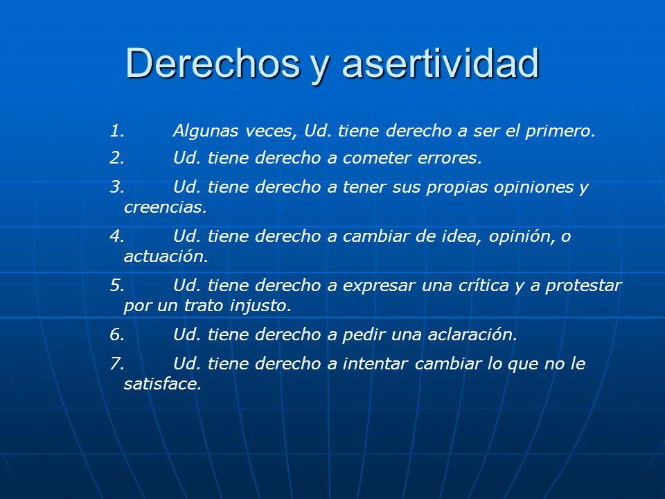 Derechos y asertividad 8.Ud.tiene derecho a pedir ayuda o apoyo emocional.