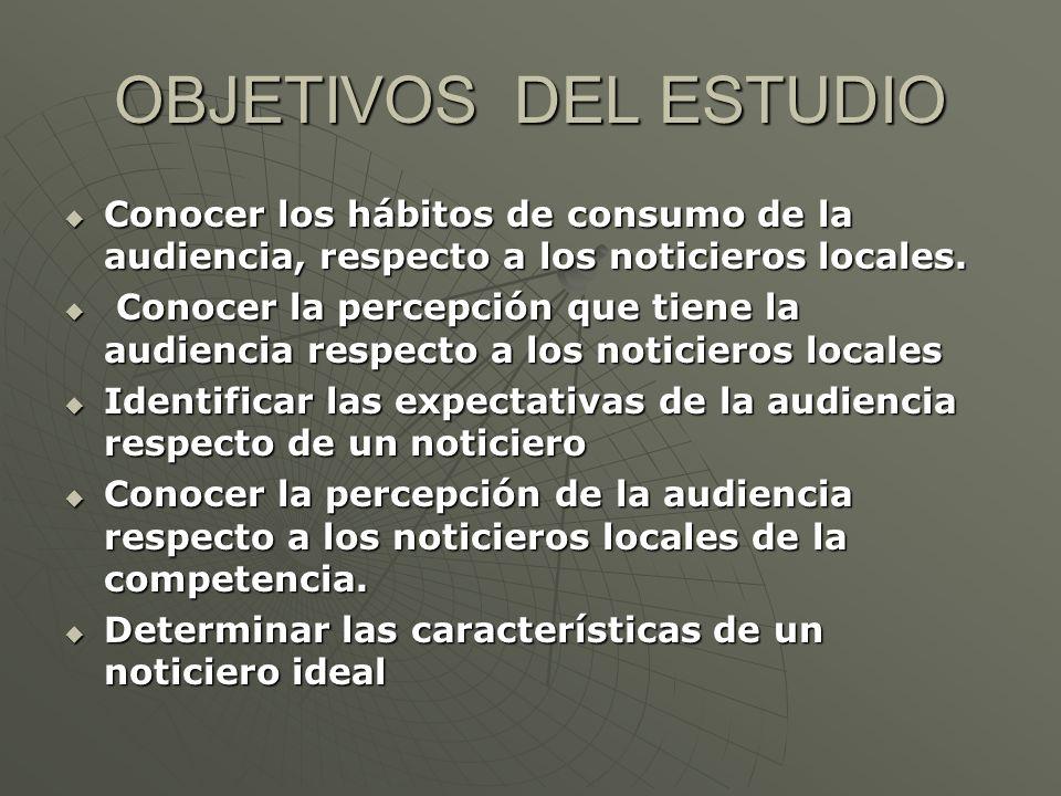 OBJETIVOS DEL ESTUDIO Conocer los hábitos de consumo de la audiencia, respecto a los noticieros locales.