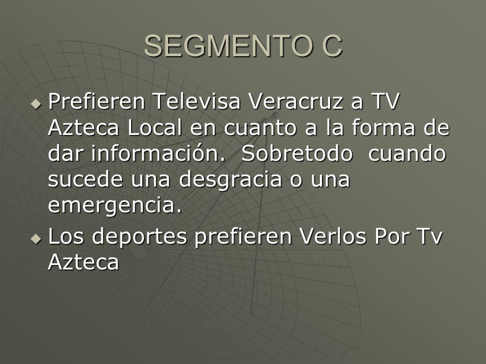 SEGMENTO C Prefieren Televisa Veracruz a TV Azteca Local en cuanto a la forma de dar información.