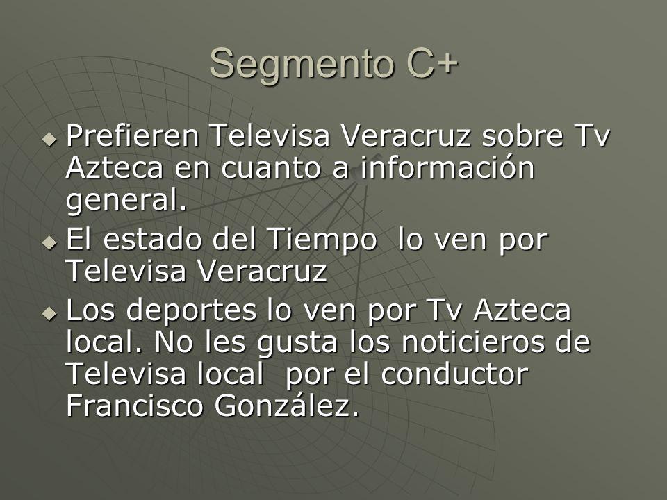 Segmento C+ Prefieren Televisa Veracruz sobre Tv Azteca en cuanto a información general.