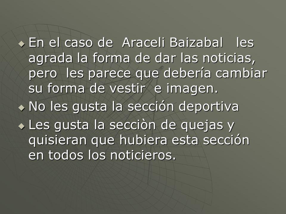 En el caso de Araceli Baizabal les agrada la forma de dar las noticias, pero les parece que debería cambiar su forma de vestir e imagen.