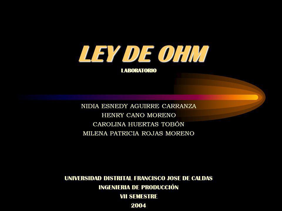 LEY DE OHM NIDIA ESNEDY AGUIRRE CARRANZA HENRY CANO MORENO CAROLINA HUERTAS TOBÓN MILENA PATRICIA ROJAS MORENO UNIVERSIDAD DISTRITAL FRANCISCO JOSE DE CALDAS INGENIERIA DE PRODUCCIÓN VII SEMESTRE 2004 LABORATORIO