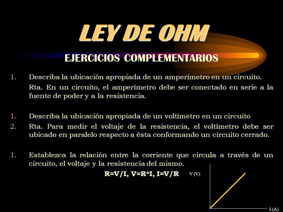 LEY DE OHM EJERCICIOS COMPLEMENTARIOS 1.Describa la ubicación apropiada de un amperímetro en un circuito.