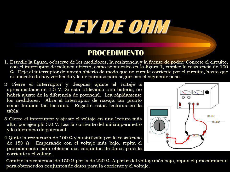 LEY DE OHM PROCEDIMIENTO 1.Estudie la figura, oobserve de los medidores, la resistencia y la fuente de poder.