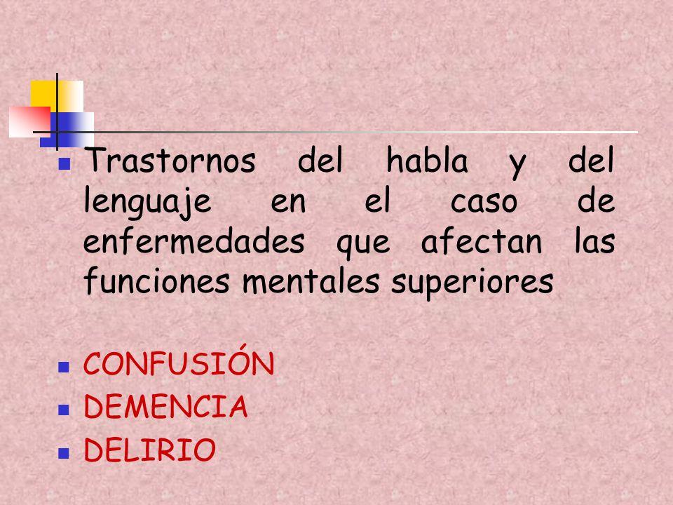 Trastornos del habla y del lenguaje en el caso de enfermedades que afectan las funciones mentales superiores CONFUSIÓN DEMENCIA DELIRIO