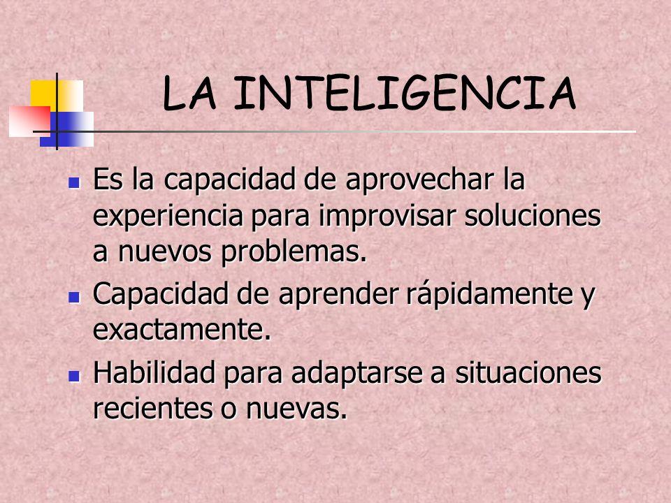 LA INTELIGENCIA Es la capacidad de aprovechar la experiencia para improvisar soluciones a nuevos problemas. Es la capacidad de aprovechar la experienc