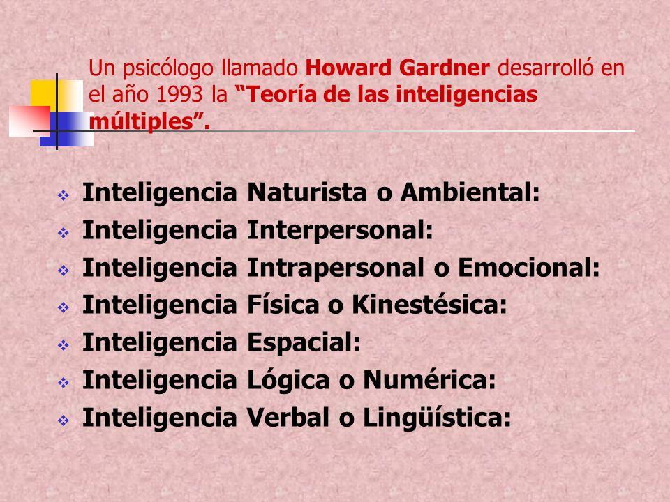 Un psicólogo llamado Howard Gardner desarrolló en el año 1993 la Teoría de las inteligencias múltiples. Inteligencia Naturista o Ambiental: Inteligenc