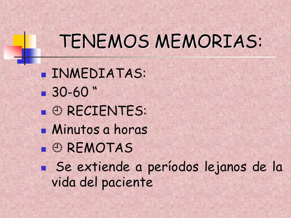 TENEMOS MEMORIA TENEMOS MEMORIAS: INMEDIATAS: 30-60 RECIENTES: Minutos a horas REMOTAS Se extiende a períodos lejanos de la vida del paciente