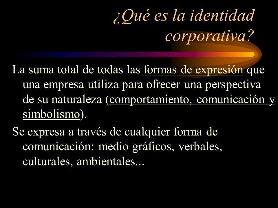 ¿Qué es la identidad corporativa? La suma total de todas las formas de expresión que una empresa utiliza para ofrecer una perspectiva de su naturaleza