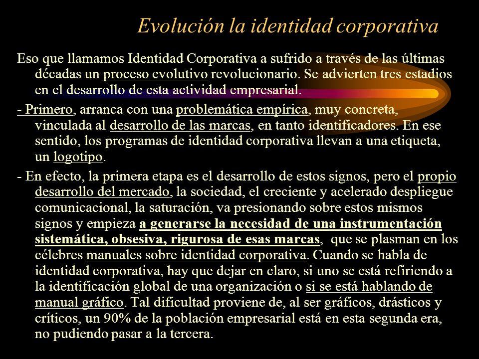 Evolución la identidad corporativa Eso que llamamos Identidad Corporativa a sufrido a través de las últimas décadas un proceso evolutivo revolucionari