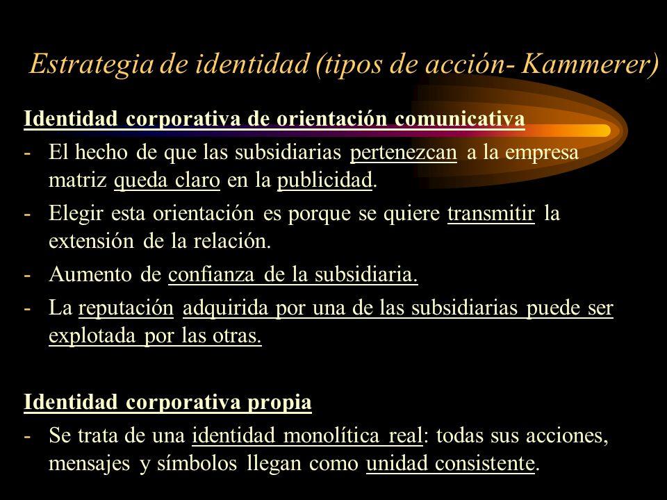 Estrategia de identidad (tipos de acción- Kammerer) Identidad corporativa de orientación comunicativa -El hecho de que las subsidiarias pertenezcan a