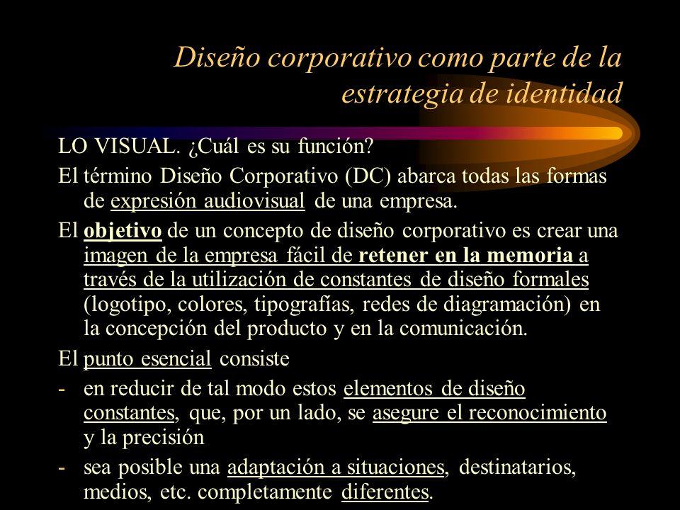 Diseño corporativo como parte de la estrategia de identidad LO VISUAL. ¿Cuál es su función? El término Diseño Corporativo (DC) abarca todas las formas