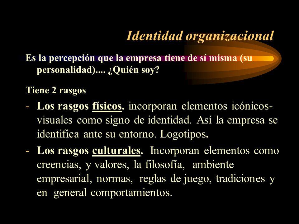 Identidad organizacional Es la percepción que la empresa tiene de sí misma (su personalidad).... ¿Quién soy? Tiene 2 rasgos -Los rasgos físicos. incor