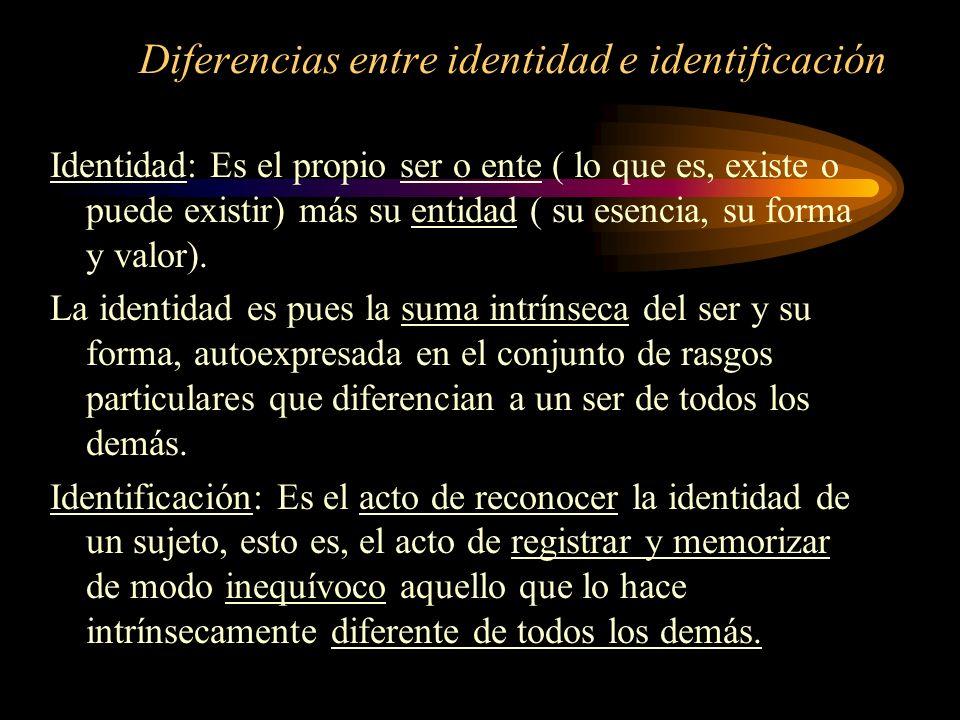 Diferencias entre identidad e identificación Identidad: Es el propio ser o ente ( lo que es, existe o puede existir) más su entidad ( su esencia, su f