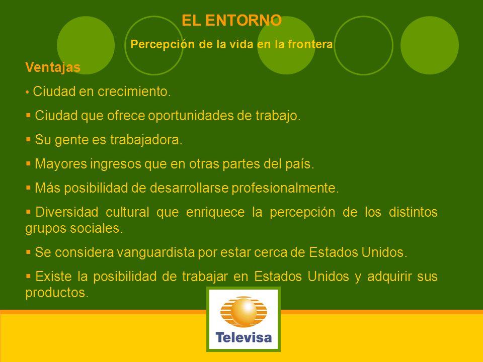 EL ENTORNO Percepción de la vida en la frontera Ventajas Ciudad en crecimiento. Ciudad que ofrece oportunidades de trabajo. Su gente es trabajadora. M