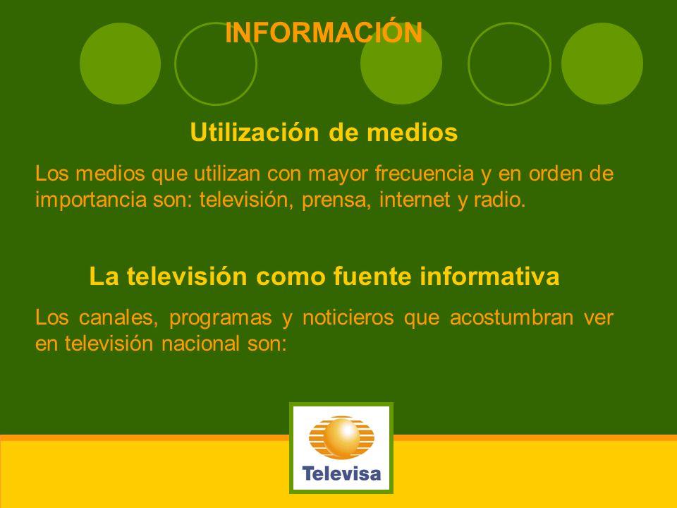 INFORMACIÓN Utilización de medios Los medios que utilizan con mayor frecuencia y en orden de importancia son: televisión, prensa, internet y radio. La