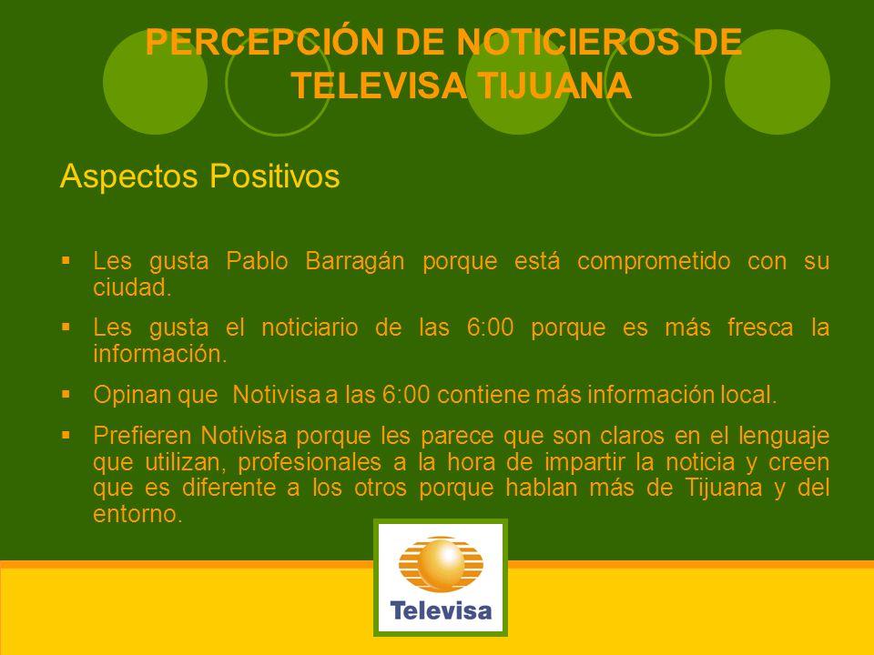 PERCEPCIÓN DE NOTICIEROS DE TELEVISA TIJUANA Aspectos Positivos Les gusta Pablo Barragán porque está comprometido con su ciudad. Les gusta el noticiar