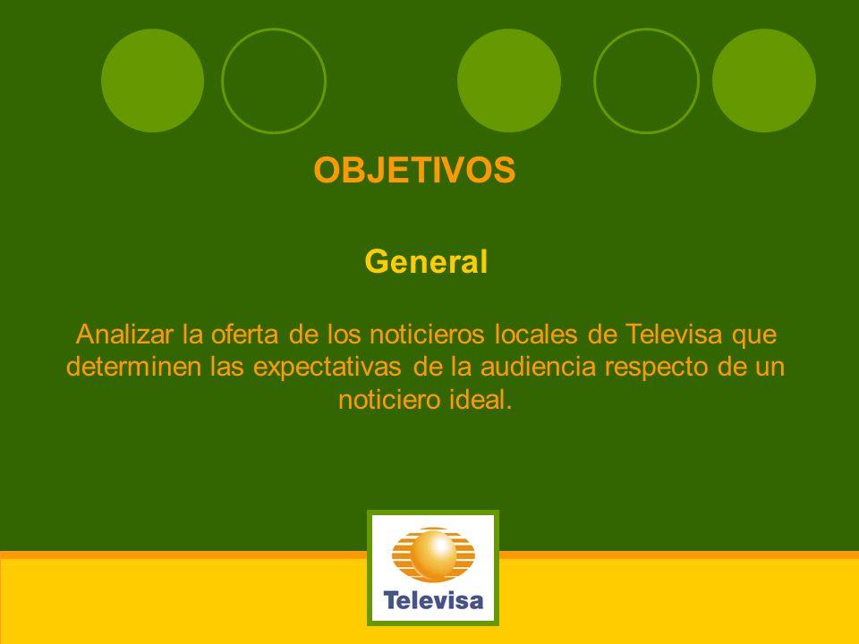 General Analizar la oferta de los noticieros locales de Televisa que determinen las expectativas de la audiencia respecto de un noticiero ideal. OBJET