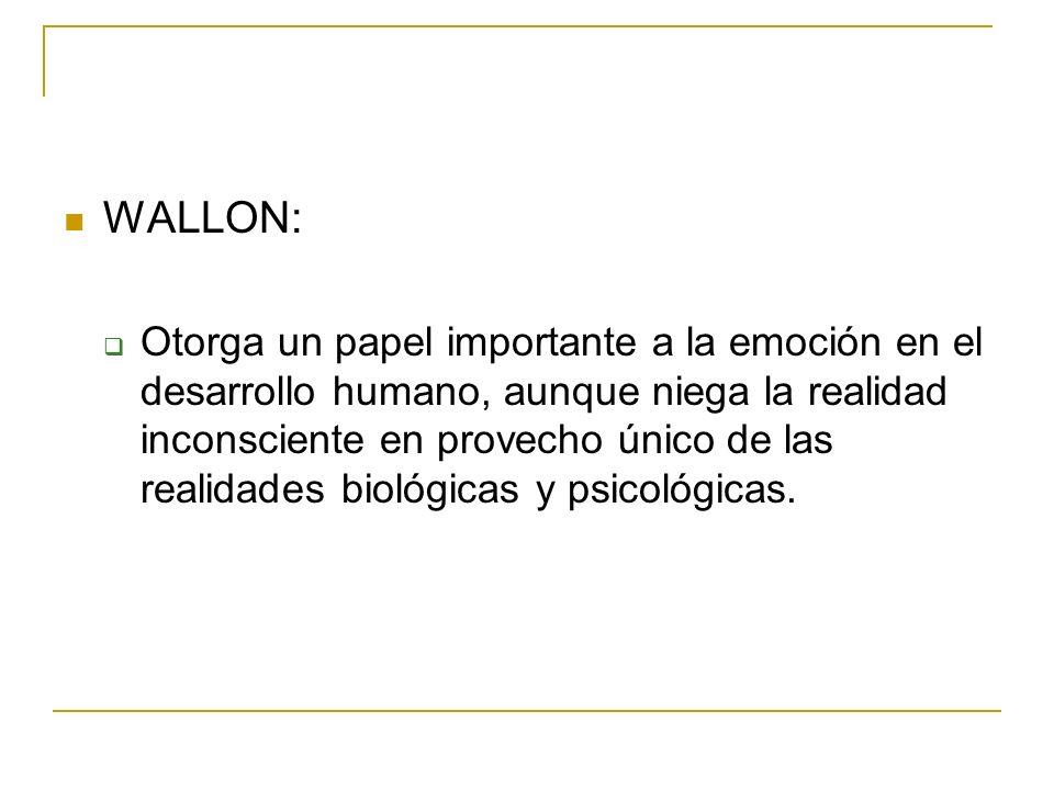 WALLON: Otorga un papel importante a la emoción en el desarrollo humano, aunque niega la realidad inconsciente en provecho único de las realidades bio