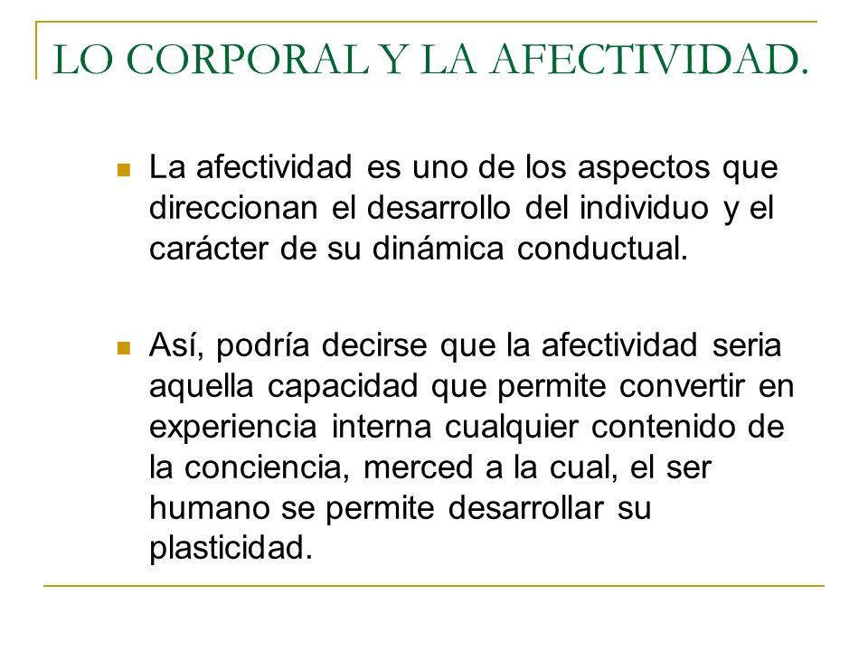 LO CORPORAL Y LA AFECTIVIDAD. La afectividad es uno de los aspectos que direccionan el desarrollo del individuo y el carácter de su dinámica conductua