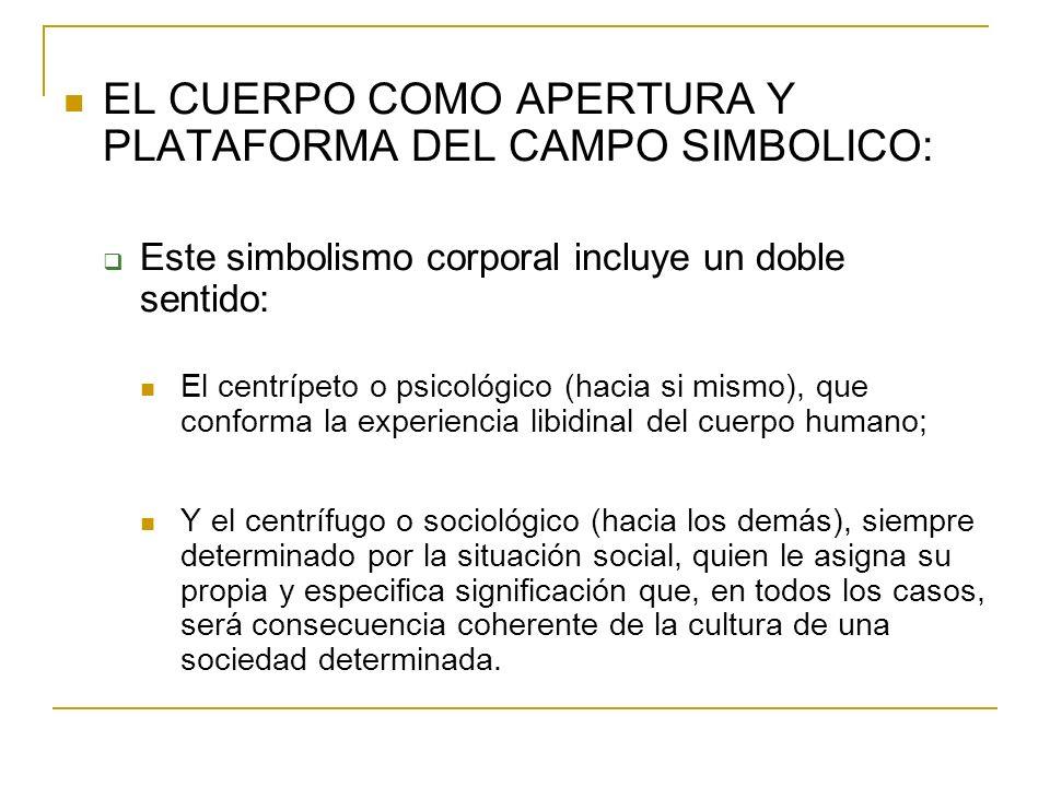 EL CUERPO COMO APERTURA Y PLATAFORMA DEL CAMPO SIMBOLICO: Este simbolismo corporal incluye un doble sentido: El centrípeto o psicológico (hacia si mis