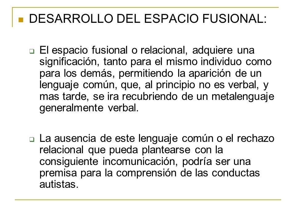 DESARROLLO DEL ESPACIO FUSIONAL: El espacio fusional o relacional, adquiere una significación, tanto para el mismo individuo como para los demás, perm